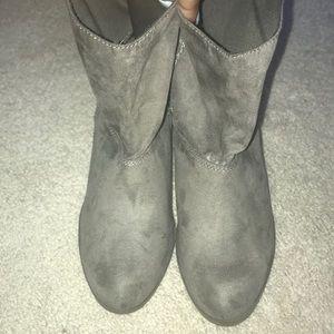 Brown wedged booties